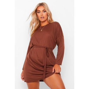Boohoo Womens Plus Soft Rib Belted Oversized Mini Dress - Brown - 26, Brown Pzz60161186352 Womens Dresses & Skirts, Brown