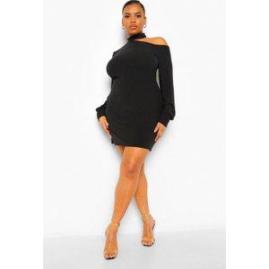 Boohoo Womens Plus Soft Rib Cut Out Jumper Dress - Black - 20, Black Pzz0002410568 Womens Dresses & Skirts, Black