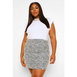 Boohoo Womens Plus Stretch Shape Boucle Mini Skirt - Black - 16, Black Pzz0008510524 Womens Dresses & Skirts, Black