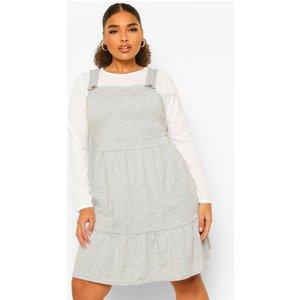 Boohoo Womens Plus Tiered Smock Pinafore Dress - Grey - 26, Grey Pzz00234131352 Womens Dresses & Skirts, Grey