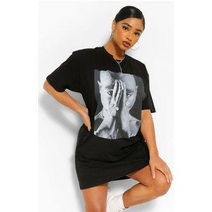 Boohoo Womens Plus Tupac Licensed T-shirt Dress - Black - 22, Black Pzz61037105350 Womens Dresses & Skirts, Black
