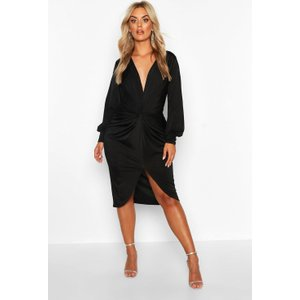 Boohoo Womens Plus Twist Front Plunge Midi Dress - Black - 16, Black Pzz6895210524 Womens Dresses & Skirts, Black