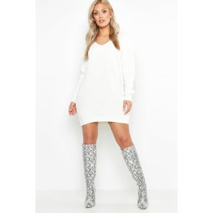 Boohoo Womens Plus V Neck Jumper Mini Dress - White - 24, White Pzz75221123351 Womens Dresses & Skirts, White