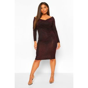 Boohoo Womens Plus Wrap Over Glitter Midi Dress - Red - 16, Red Pzz5984015724 Womens Dresses & Skirts, Red