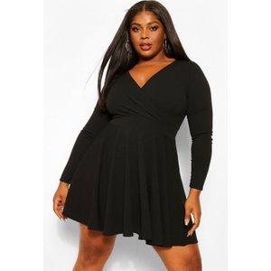 Boohoo Womens Plus Wrap Scuba Crepe Skater Dress - Black - 18, Black Pzz6011610551 Womens Dresses & Skirts, Black