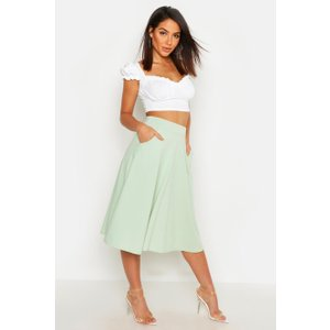Boohoo Womens Pocket Front Crepe Skater Midi Skirt - Green - 12, Green Dzz2711420920 Womens Dresses & Skirts, Green