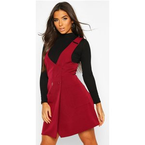 Boohoo Womens Pocket Front Pinafore Dress - Red - 16, Red Fzz8330810424 Womens Dresses & Skirts, Red