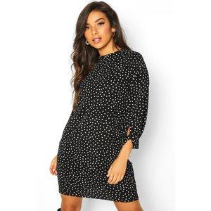 Boohoo Womens Polka Dot Bow Sleeve Woven Shift Dress - Black - 12, Black Fzz7859810520 Womens Dresses & Skirts, Black