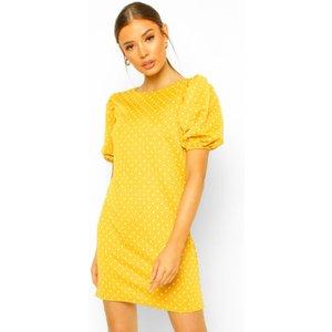 Boohoo Womens Polka Dot Puff Sleeve Shift Dress - Yellow - 10, Yellow Fzz5772614618 Womens Dresses & Skirts, Yellow