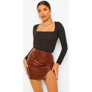 Boohoo Womens Pu Faux Leather Split Hem Mini Skirt - Brown - 14, Brown Fzz0164918622 Womens Dresses & Skirts, Brown