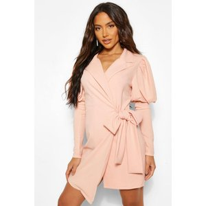 Boohoo Womens Puff Sleeve Wrap Blazer Dress - Pink - 18, Pink Fzz4840515851 Womens Dresses & Skirts, Pink