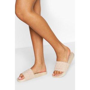 Boohoo Womens Quilted Padded Sock Pool Sliders - Beige - 5, Beige Fzz6027310313 Womens Footwear, Beige