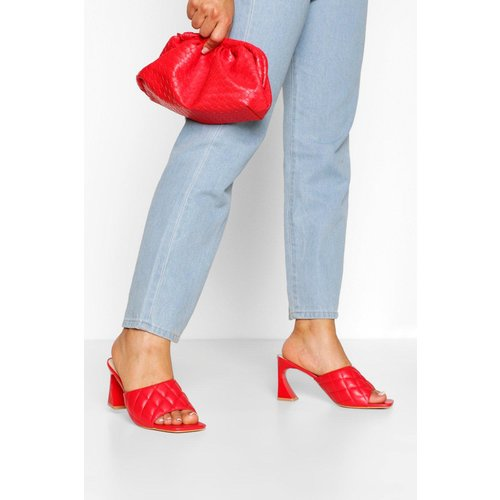 Boohoo Womens Quilted Square Toe Low Heel Mules - Red - 4, Red Fzz6780615712 Womens Footwear, Red