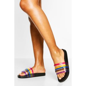 Boohoo Womens Rainbow Strap Pool Slider - Black - 4, Black Fzz5359610512 Womens Footwear, Black