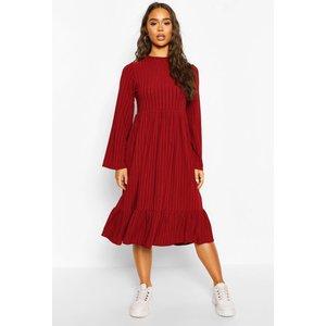 Boohoo Womens Recycled Rib Midi Smock Dress - Red - 6, Red Fzz7595929314 Womens Dresses & Skirts, Red