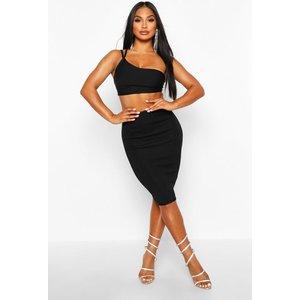 Boohoo Womens Rib Bandage Midi Skirt - Black - 6, Black Fzz8428310514 Womens Dresses & Skirts, Black