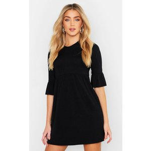 Boohoo Womens Rib Frill Sleeve Smock Dress - Black - 16, Black Fzz3412510524 Womens Dresses & Skirts, Black