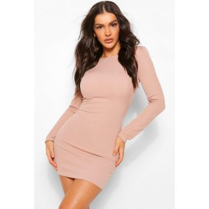 Boohoo Womens Rib Mini Dress With Shoulder Pads - Beige - 8, Beige Fzz5050016516 Womens Dresses & Skirts, Beige
