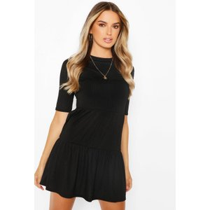 Boohoo Womens Rib Tiered Smock Dress - Black - 14, Black Fzz6000410522 Womens Dresses & Skirts, Black