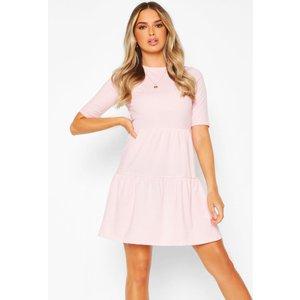 Boohoo Womens Rib Tiered Smock Dress - Pink - 12, Pink Fzz6000410720 Womens Dresses & Skirts, Pink