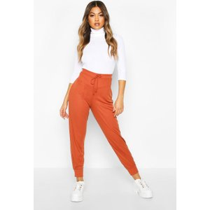 Boohoo Womens Ribbed High Waist Loopback Jogger - Brown - 14, Brown Fzz7617216622 Womens Trousers, Brown