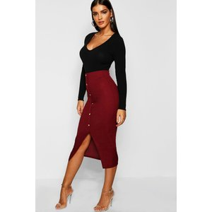 Boohoo Womens Ribbed Mock Horn Button Through Midi Skirt - Red - 8, Red Dzz1344510416 Womens Dresses & Skirts, Red