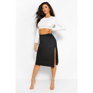 Boohoo Womens Ribbed Side Split Midi Skirt - Black - 14, Black Fzz4917310522 Womens Dresses & Skirts, Black