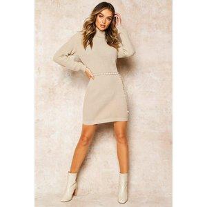 Boohoo Womens Roll Neck Jumper Dress - Beige - Xs, Beige Fzz8518716537 Womens Dresses & Skirts, Beige