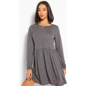 Boohoo Womens Round Neck Long Sleeve Skater Dress - Grey - S, Grey Fzz5430911530 Womens Dresses & Skirts, Grey