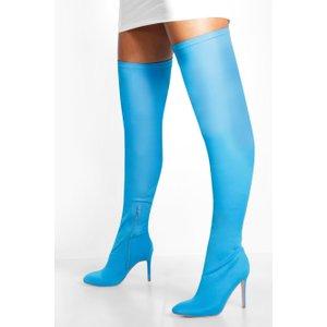 Boohoo Womens Round Toe Calf High Boots - Blue - 7, Blue Fzz8595210615 Womens Footwear, Blue