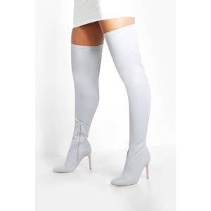 Boohoo Womens Round Toe Calf High Boots - Grey - 3, Grey Fzz8595213111 Womens Footwear, Grey