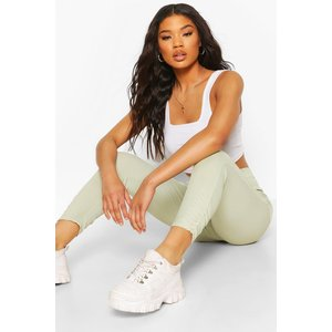 Boohoo Womens Ruched Ankle Ribbed High Waist Legging - Green - 16, Green Fzz6543020924 Womens Trousers, Green