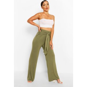 Boohoo Womens Ruched Back Tie Waist Wide Leg Trousers - Green - 10, Green Fzz6078113518 Womens Trousers, Green