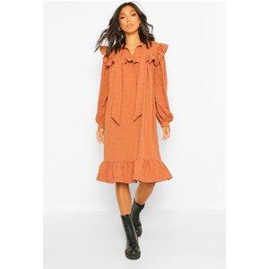 Boohoo Womens Ruffle Detail Pussybow Midi Smock Dress - Orange - 18, Orange Fzz4530720851 Womens Dresses & Skirts, Orange