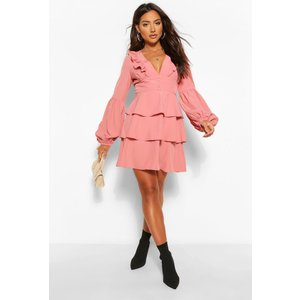 Boohoo Womens Ruffle Plunge Tiered Skater Dress - Pink - 8, Pink Fzz5088610716 Womens Dresses & Skirts, Pink
