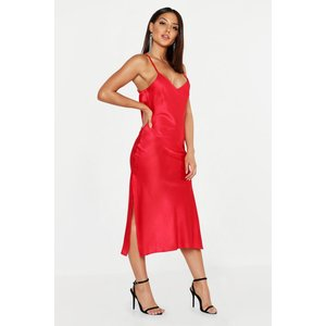 Boohoo Womens Satin Cowl Back Midi Slip Dress - Red - 12, Red Dzz0121115720 Womens Dresses & Skirts, Red