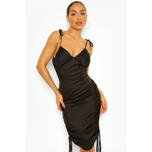 Boohoo Womens Satin Ruched Midi Slip Dress - Black - 16, Black Fzz4516510524 Womens Dresses & Skirts, Black