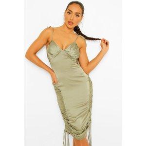 Boohoo Womens Satin Ruched Midi Slip Dress - Green - 14, Green Fzz4516515122 Womens Dresses & Skirts, Green