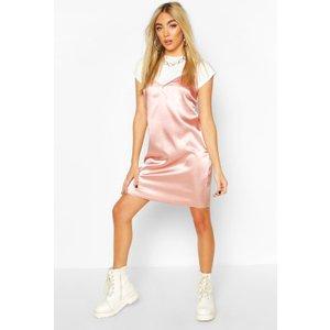 Boohoo Womens Satin T-shirt Layered Slip Dress - Pink - 8, Pink Fzz7021810716 Womens Dresses & Skirts, Pink