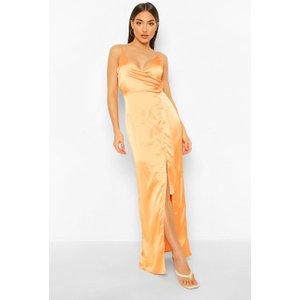 Boohoo Womens Satin Wrap Maxi Dress - Orange - 8, Orange Fzz7290115216 Womens Dresses & Skirts, Orange