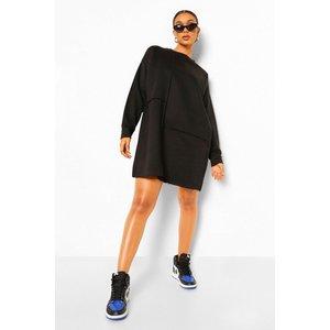 Boohoo Womens Seam Detail Ovesized Jumper Dress - Black - 14, Black Fzz0393210522 Womens Dresses & Skirts, Black