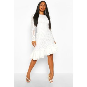 Boohoo Womens Sequin Baroque Ruffle Mini Dress - White - 10, White Fzz8334717318 Womens Dresses & Skirts, White