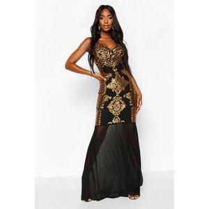 Boohoo Womens Sequin Demask Plunge Mesh Fishtail Maxi Dress - Black - 8, Black Fzz8316510516 Womens Dresses & Skirts, Black