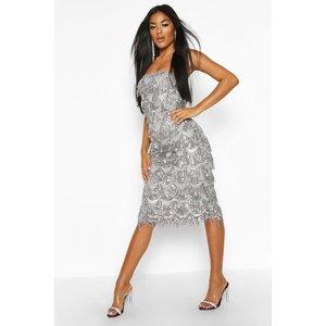 Boohoo Womens Sequin Tassel Bandeau Midi Dress - Grey - 8, Grey Fzz8424416316 Womens Dresses & Skirts, Grey