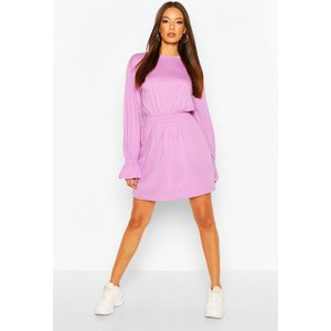 Boohoo Womens Shirred Waist T-shirt Dress - Purple - 14, Purple Dzz0200713722 Womens Dresses & Skirts, Purple