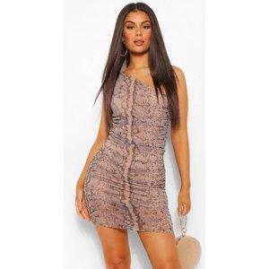Boohoo Womens Snake Mesh One Shoulder Ruched Midi Dress - Beige - 10, Beige Fzz4444216518 Womens Dresses & Skirts, Beige
