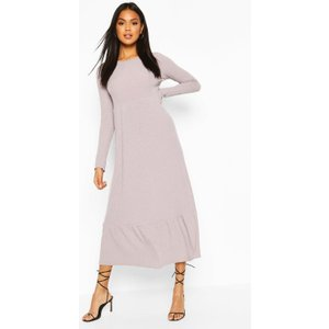 Boohoo Womens Soft Rib Ruffle Tiered Midaxi Dress - Grey - 16, Grey Fzz6859613124 Womens Dresses & Skirts, Grey