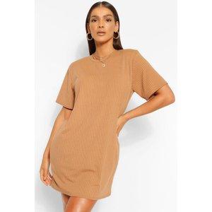 Boohoo Womens Soft Rib Shoulder Pad T-shirt Dress - Beige - 12, Beige Fzz4858811120 Womens Dresses & Skirts, Beige