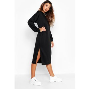 Boohoo Womens Split Midi Jumper Dress - Black - 16, Black Dzz0254410524 Womens Dresses & Skirts, Black