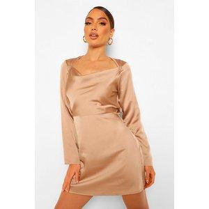 Boohoo Womens Square Cowl Neck Satin Slip Dress - Beige - 8, Beige Fzz0021029516 Womens Dresses & Skirts, Beige